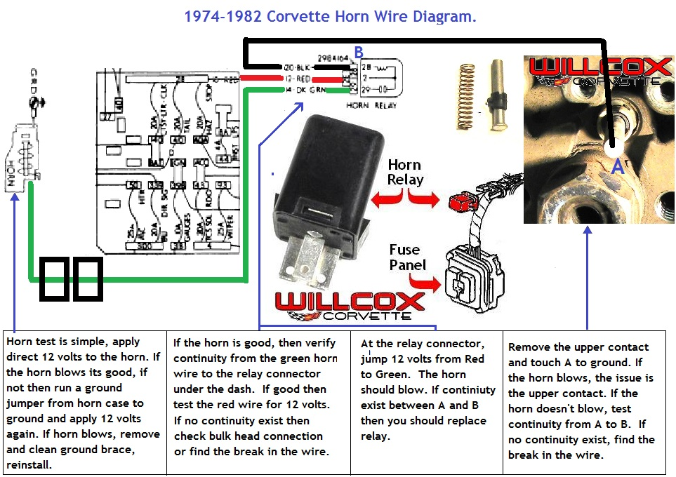 1974-1982 Corvette Horn Circuit Wire Diagram Willcox Corvette, Inc