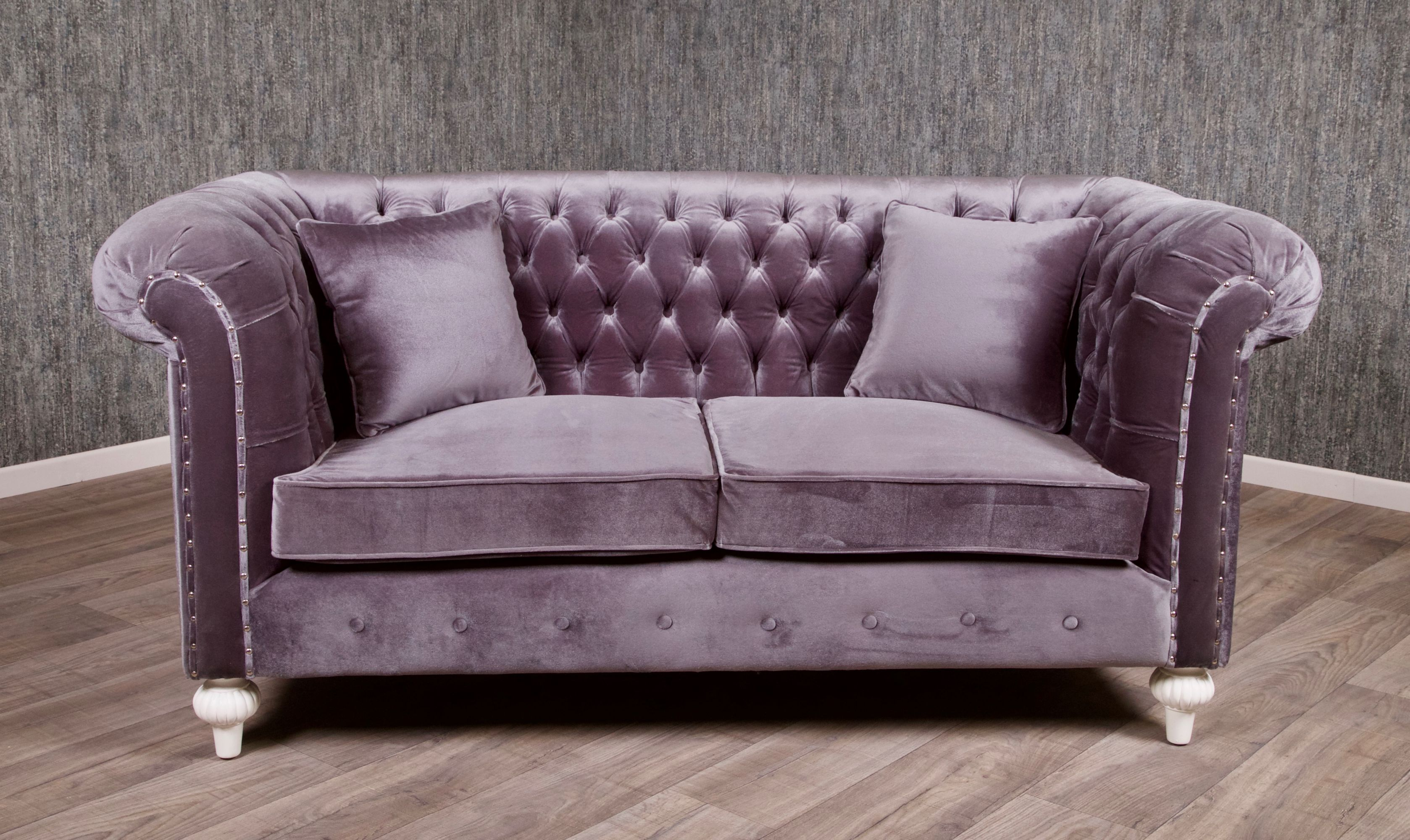 Chesterfield Sessel Stoffbezug Barock Chesterfield Sofa 2 Sitzer Empire Grau