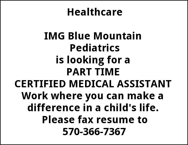 Certified Medical ASsistant, Blue Mountain Pediatrics