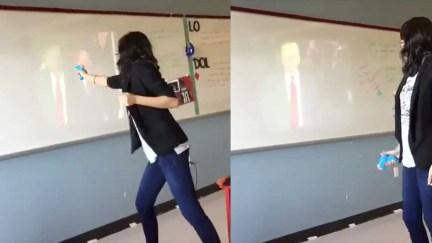 VIDEO--Teacher-Has-Meltdown_-Shoots-Trump-With-Water-Gun-Yelling-_Die