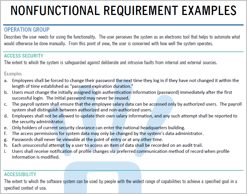 Nonfunctional Requirement Examples Requirements Quest