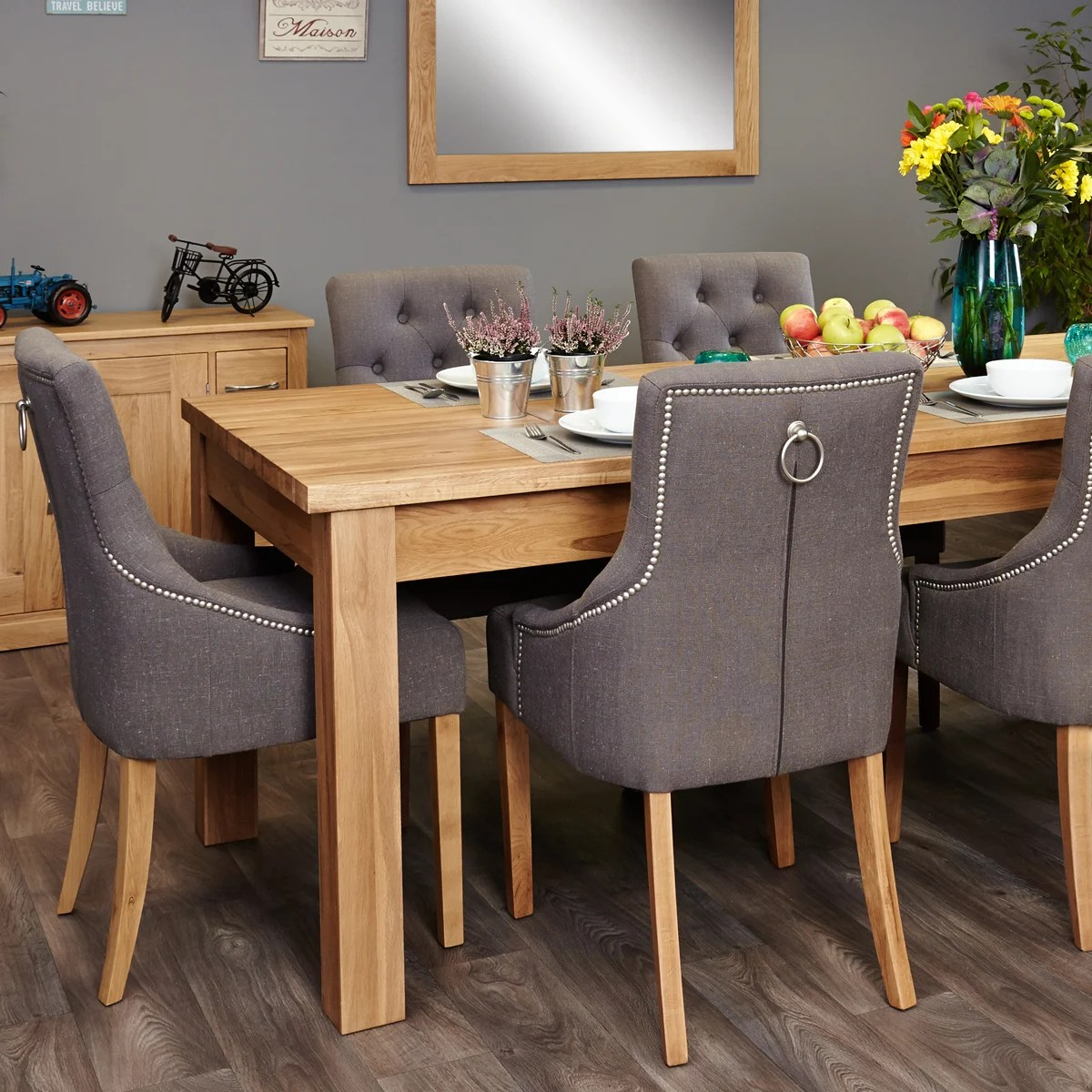 Möbel X Mobel Oak Extending Table And 6 Grey Chairs With Arms