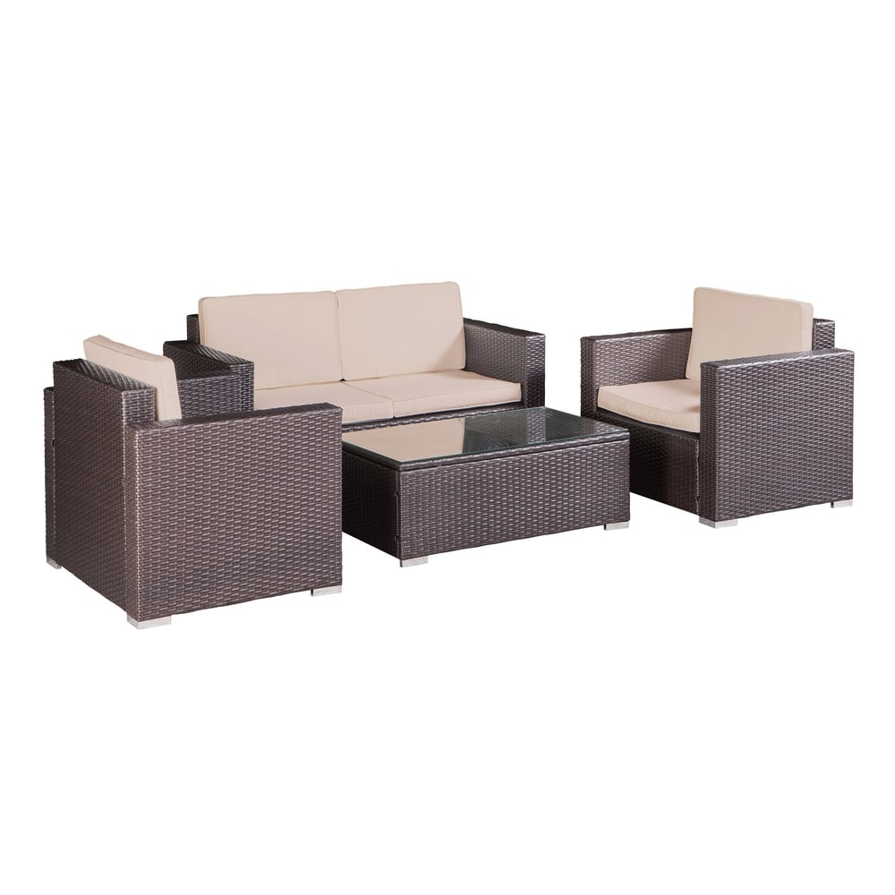 Sofa Open Box Open Box Palm Springs Outdoor 4 Piece Furniture Wicker Patio Set W Chairs Table Cushions