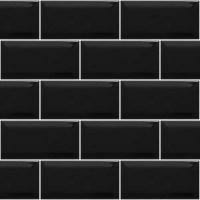 Metro Brick Gloss Black Ceramic Subway 10cm x 20cm Wall Tile