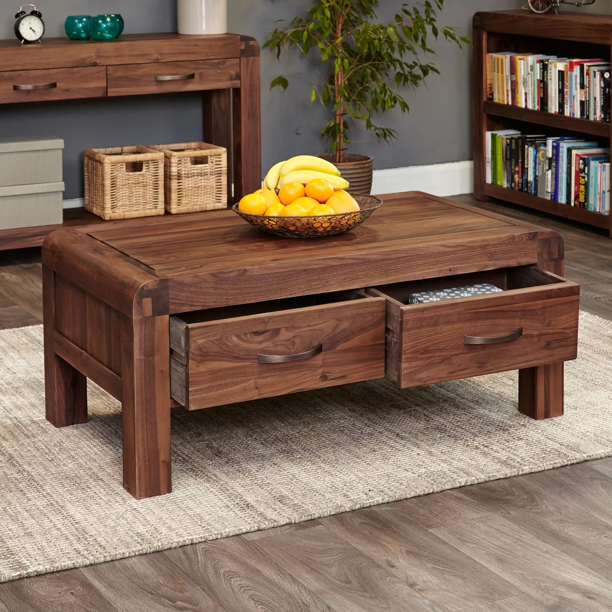 Tv Hidden In Coffee Table Shiro Walnut Four Drawer Coffee Table Was 505 00 Now 395