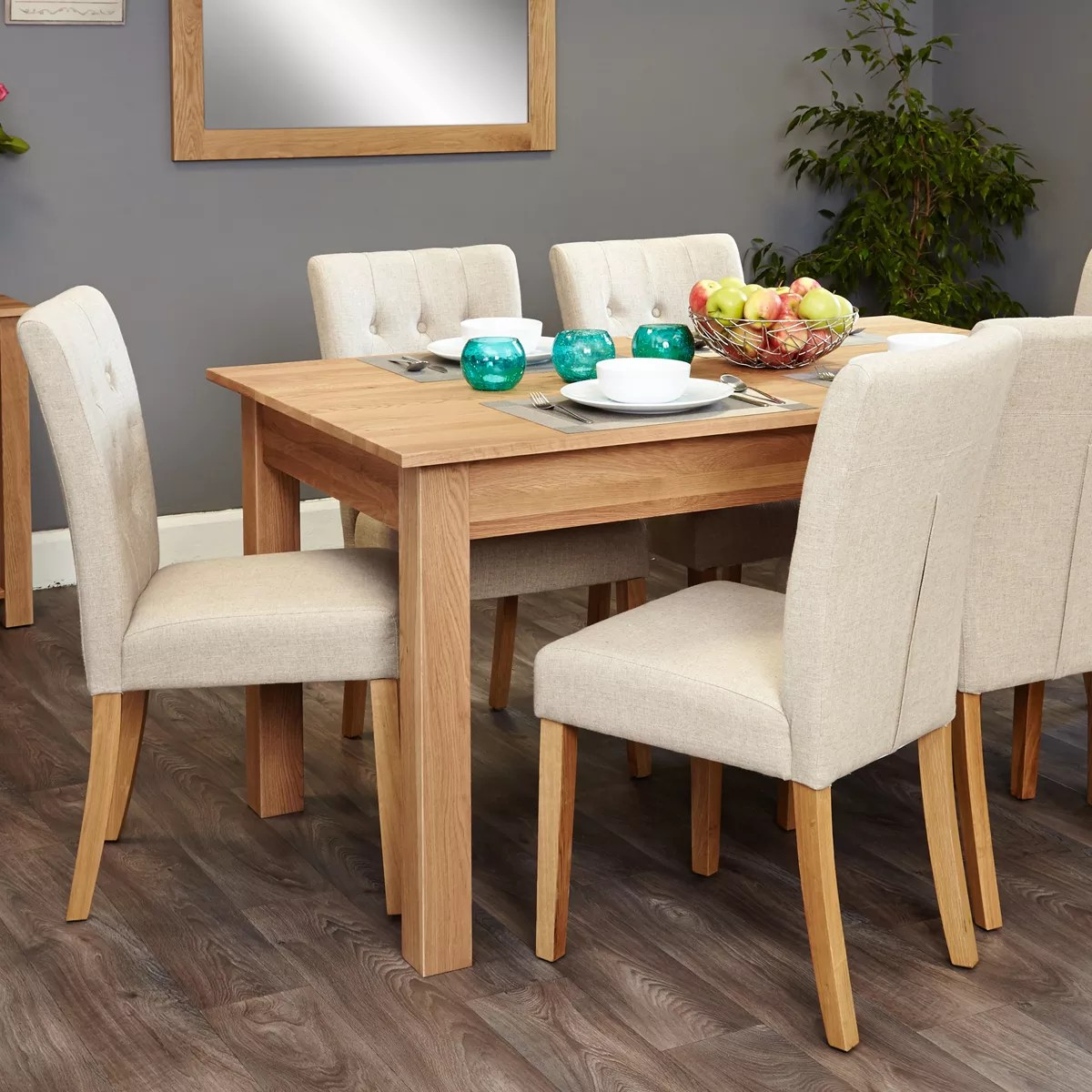 Cor Möbel Mobel Oak 4 6 Seat Table And 6 Cream Chairs