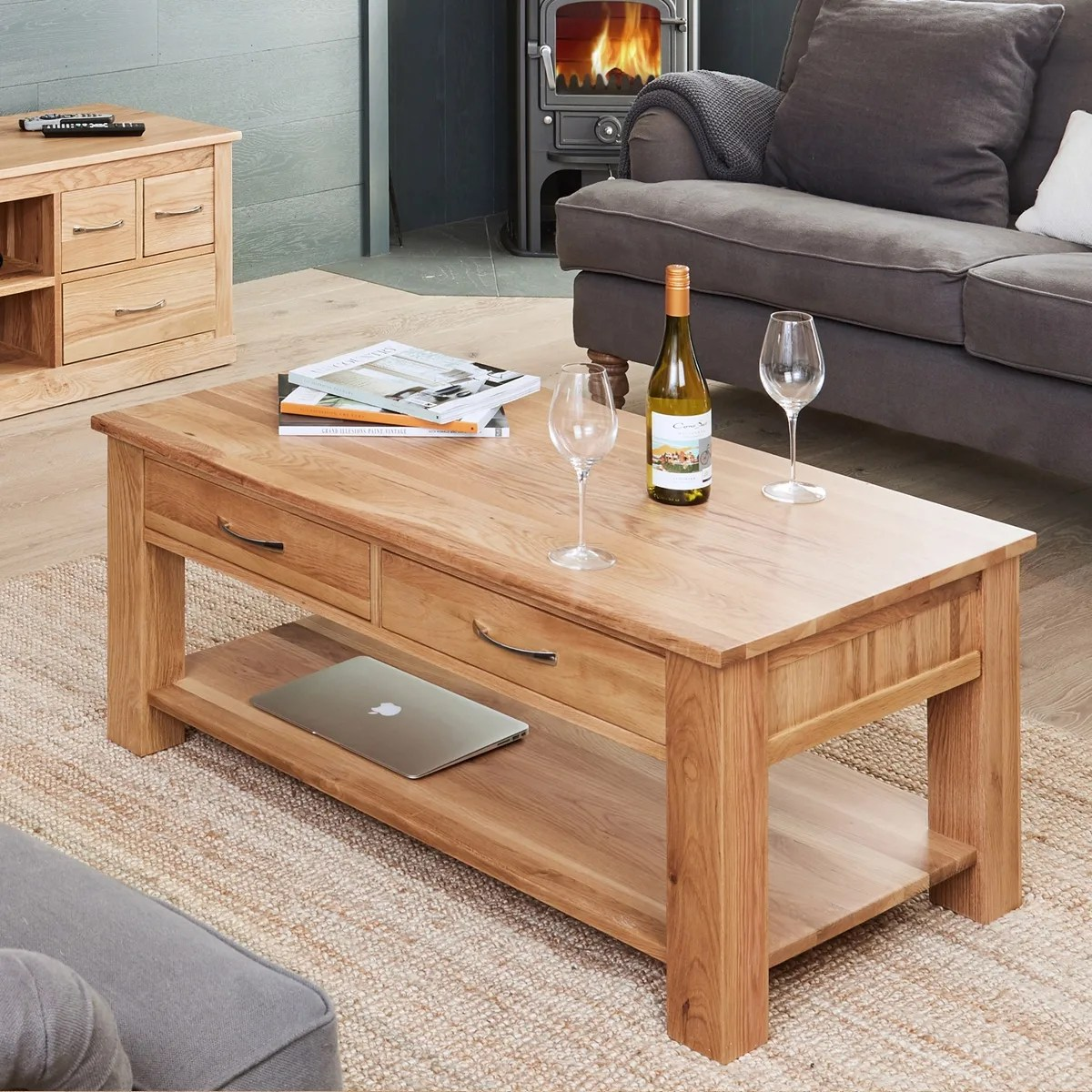 Cor Möbel Mobel Oak Four Drawer Coffee Table