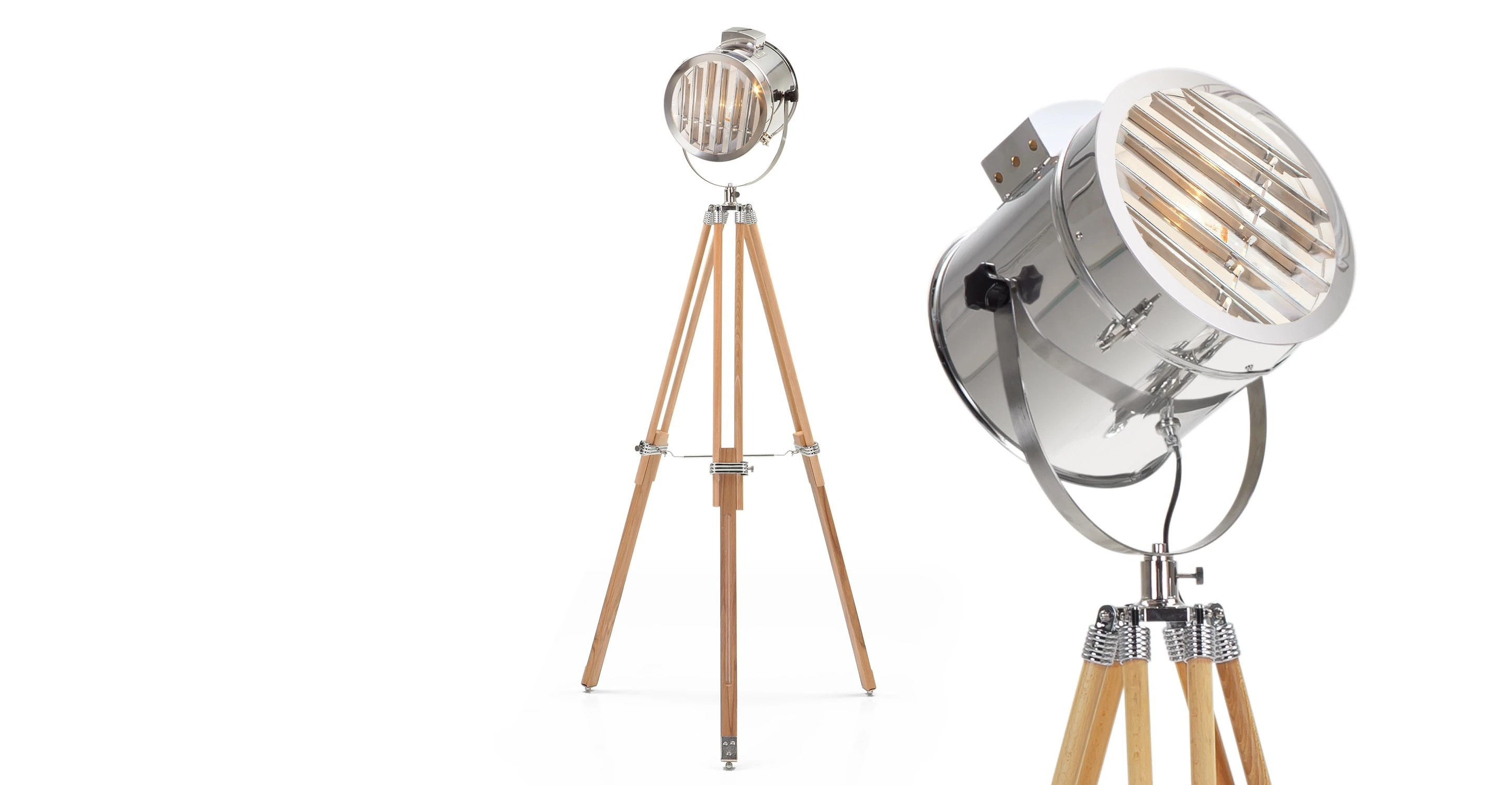 Vloerlamp Driepoot Hout Alfred Tripod Floor Lamp In Natural Wood | Made.com