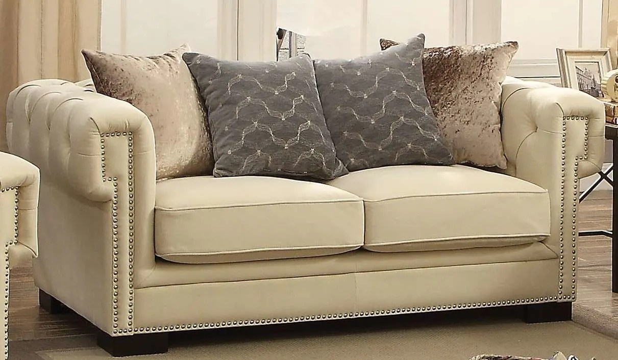 Review 4x6 Sofa Acme Furniture Eulalia Cream Polished Velvet Loveseat Reviews Goedekers