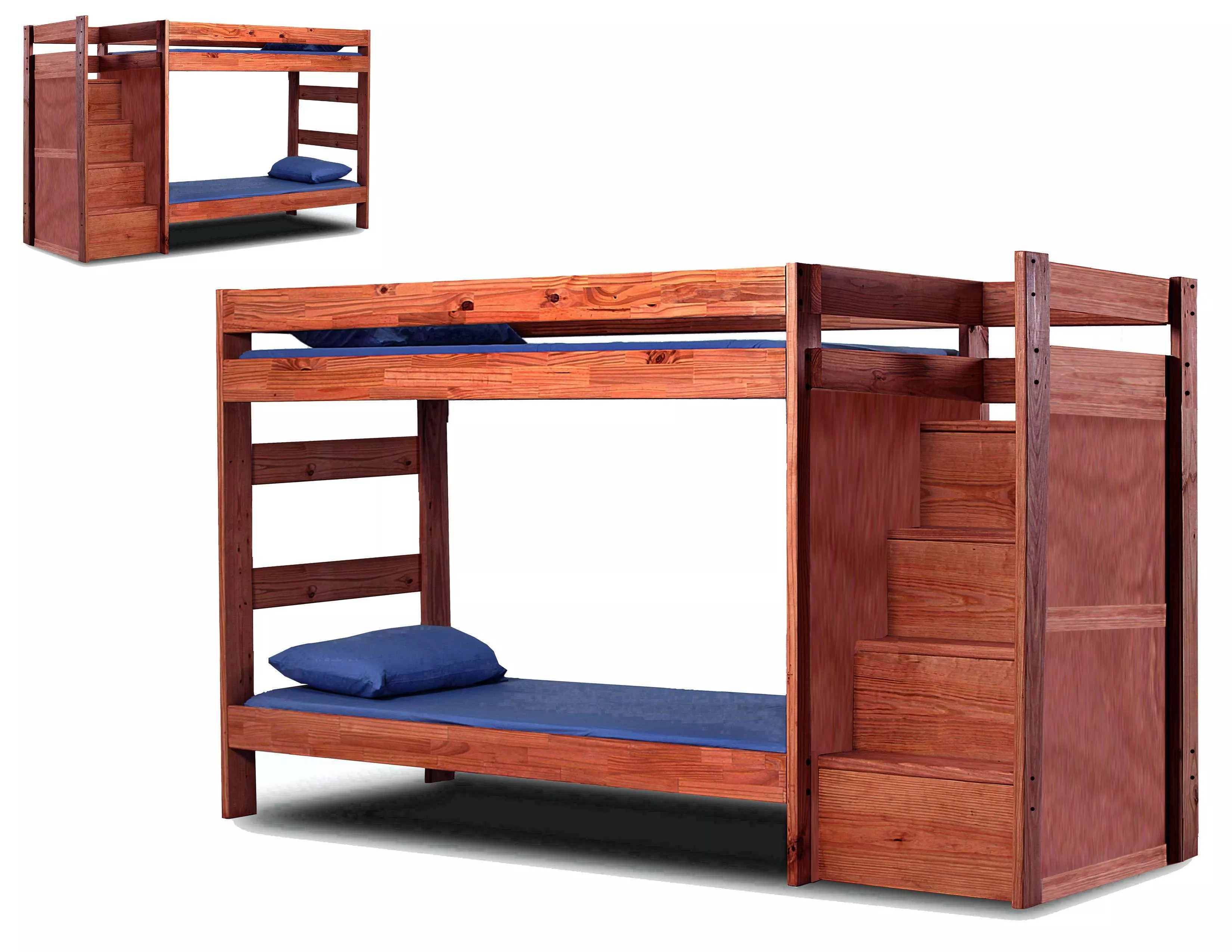 Stackable Twin Beds Chelsea Home Mahogany Stain Twin Over Twin Stackable Bunk Bed Reviews Goedekers