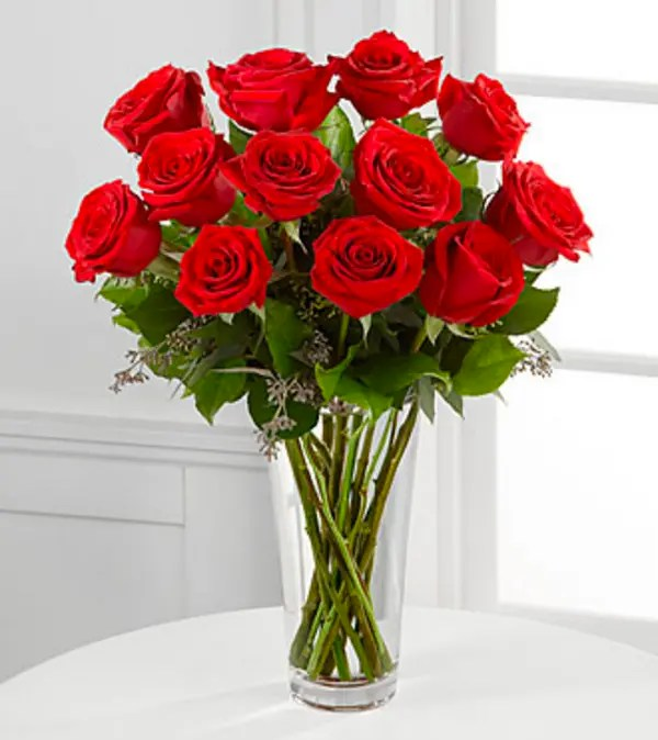 The Long Stem Red Rose Bouquet by FTD® - VASE INCLUDED in