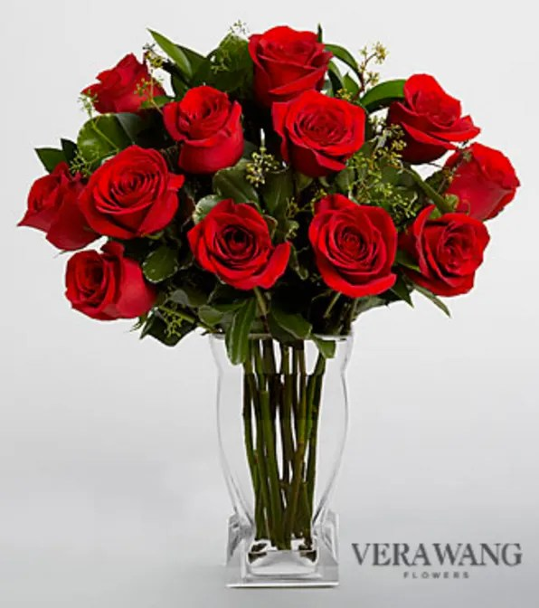 Vera Wang Red Rose Bouquet - VASE INCLUDED V871VP in