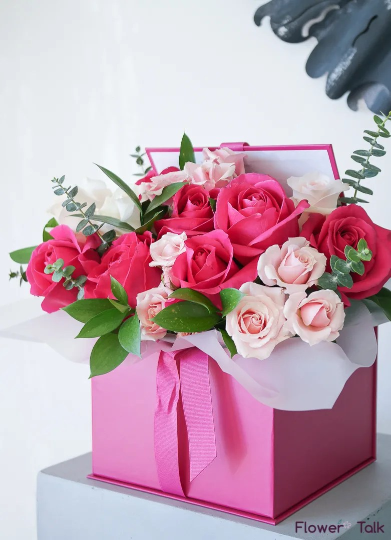 Gift Box Blushing Pink Flower Gift Box By Flower Talk