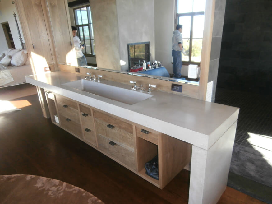 White Concrete Countertop Waterfall Style Concrete Tops - Brooks Custom