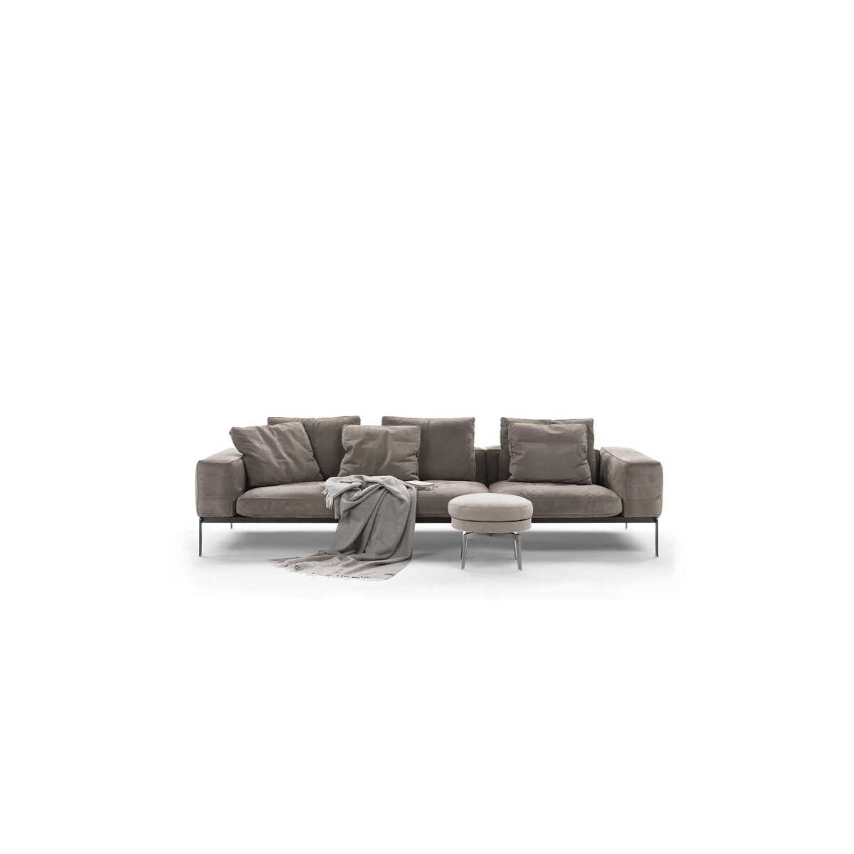 Antonio Citterio City Sofa Lifesteel 3 Seater Sofa Sable 1640 Black Chrome 240cm By