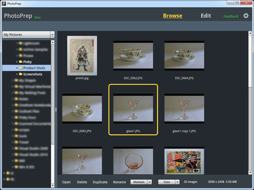 Find your photos easily with the thumbnail browser