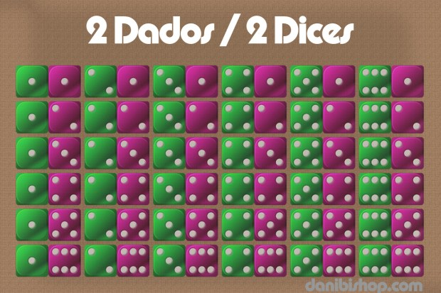 two dice results table - resultados para tiradas de dos dados
