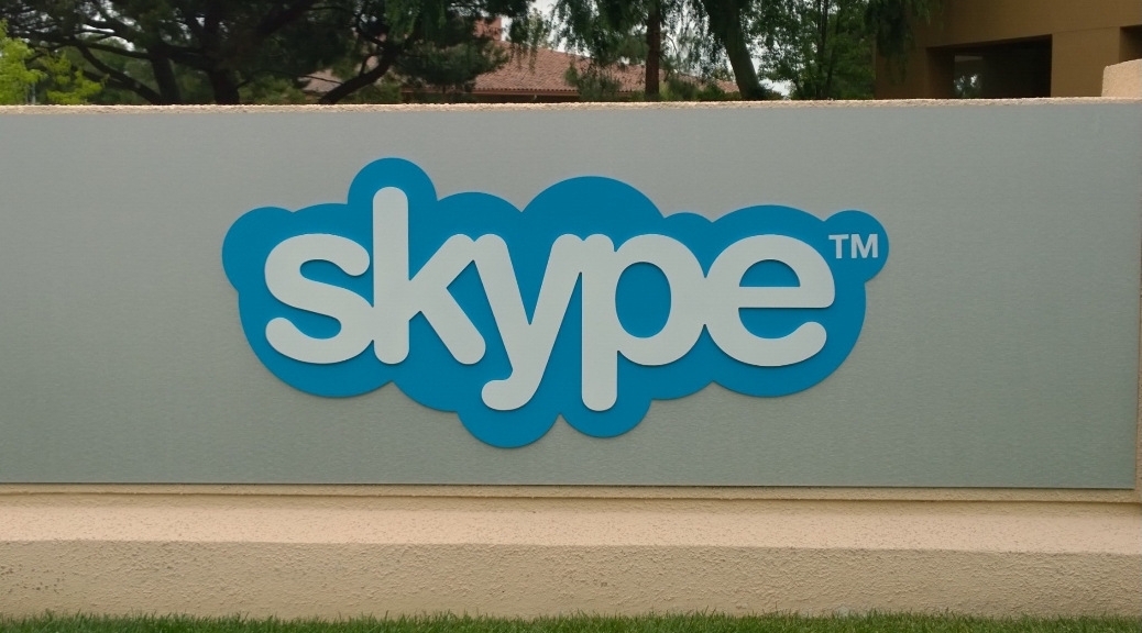 The Skype sign outside the Palo Alto office
