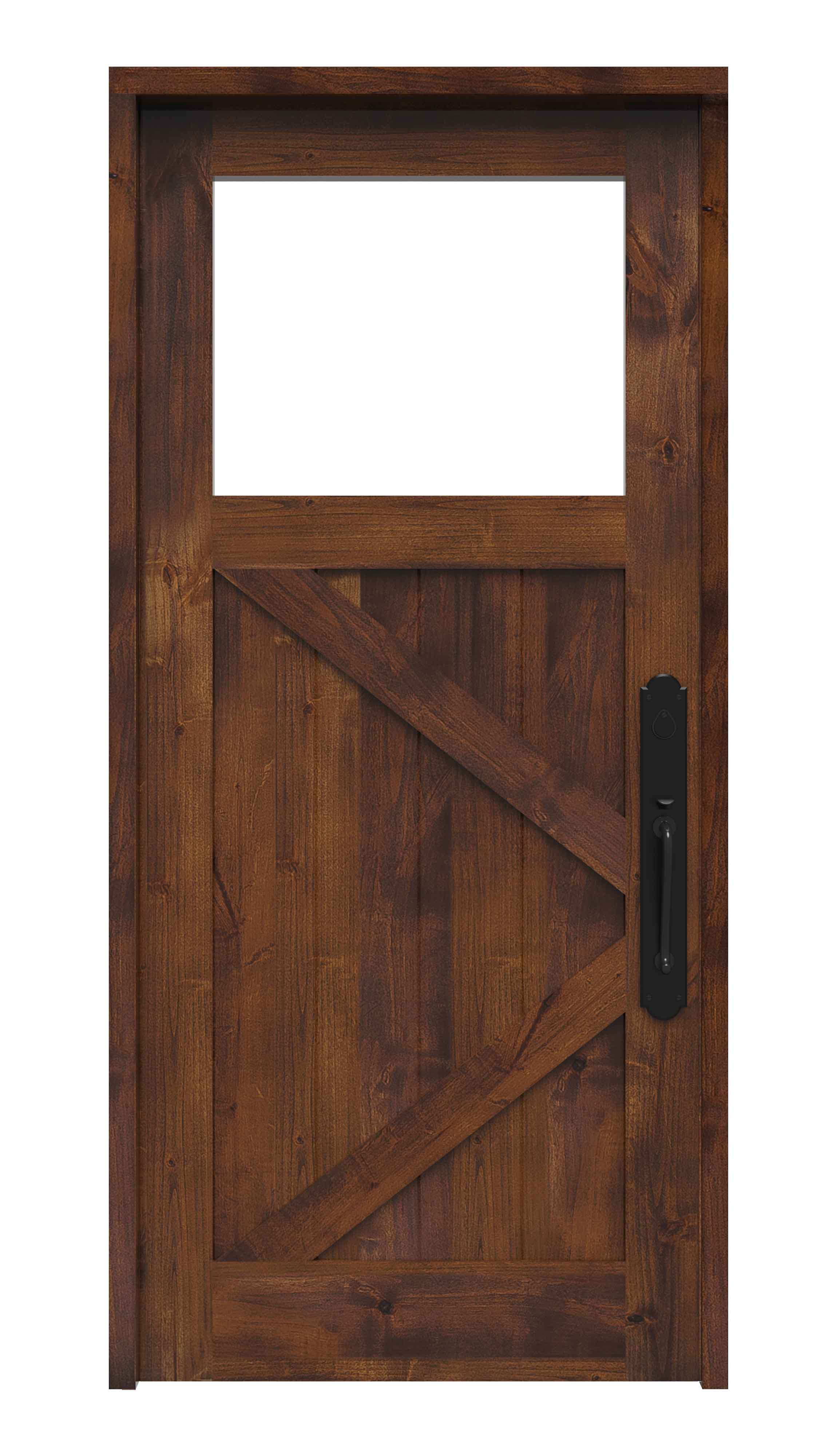 Pocket French Doors K Bar Ranch Style Front Entry Door With Window | Rustica