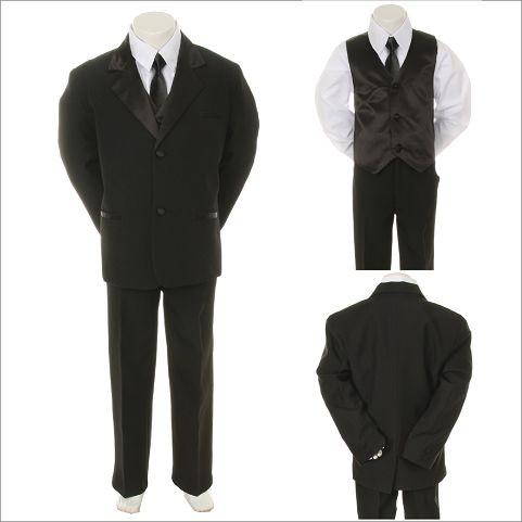 New Born Baby Toddler Boy Black FORMAL Wedding Party Church SUIT
