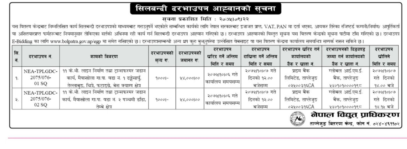Bids and Tenders Nepal - Request For Quotation - K V Line