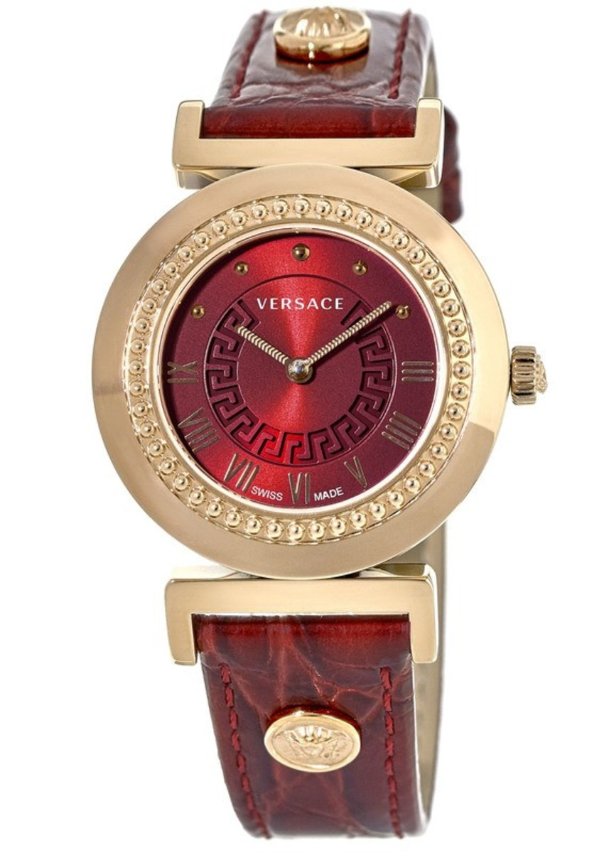 Leather Strap Rose Gold Watch Versace Vanity Rose Gold Plated Red Dial Leather Strap Women S Watch P5q80d800s800