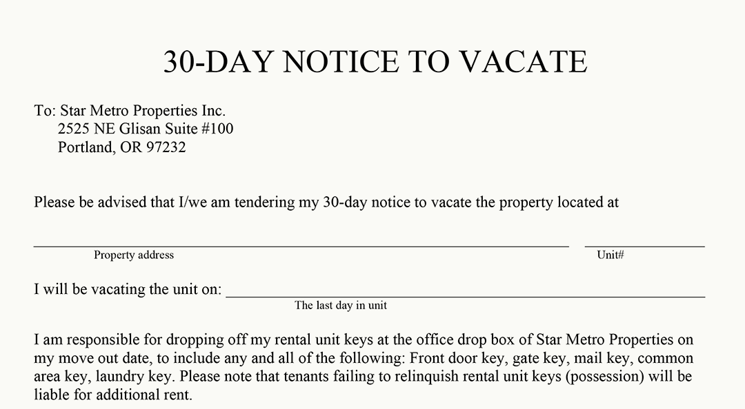 30 day notice to vacate florida 30 Day Notice To Vacate Landlord To Tenant Template - Costumepartyrun
