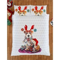 Christmas Bedding Bed Set Dog Cat Quilt Duvet Cover and 2 ...