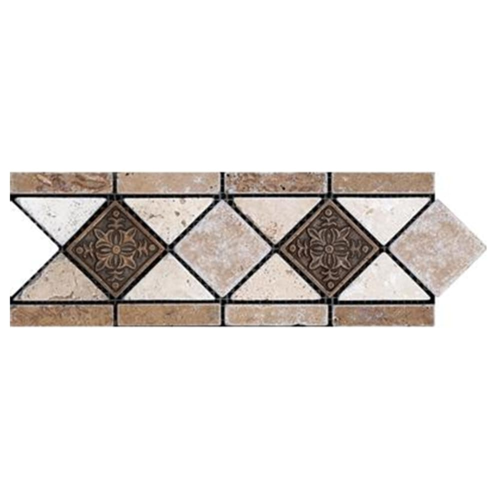 Tile Listello Listello Noce With Metal Accents 4