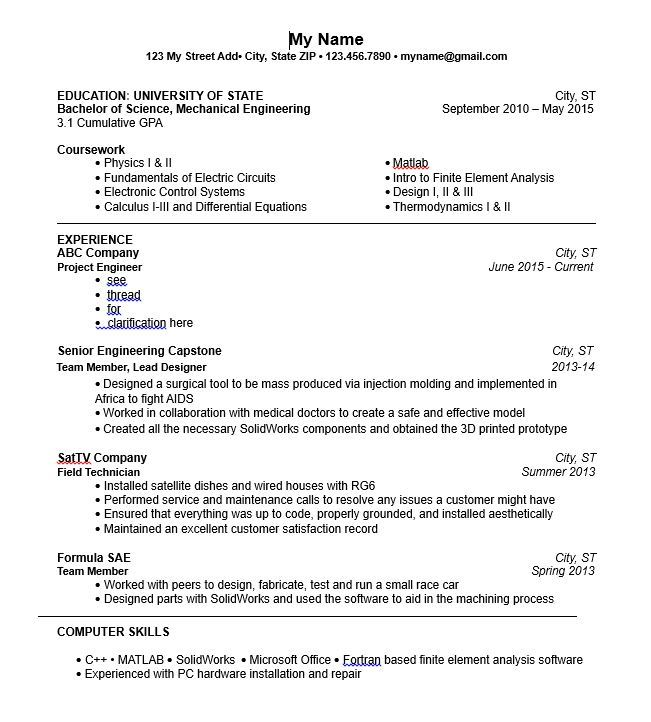 examples of resumes with current position listed