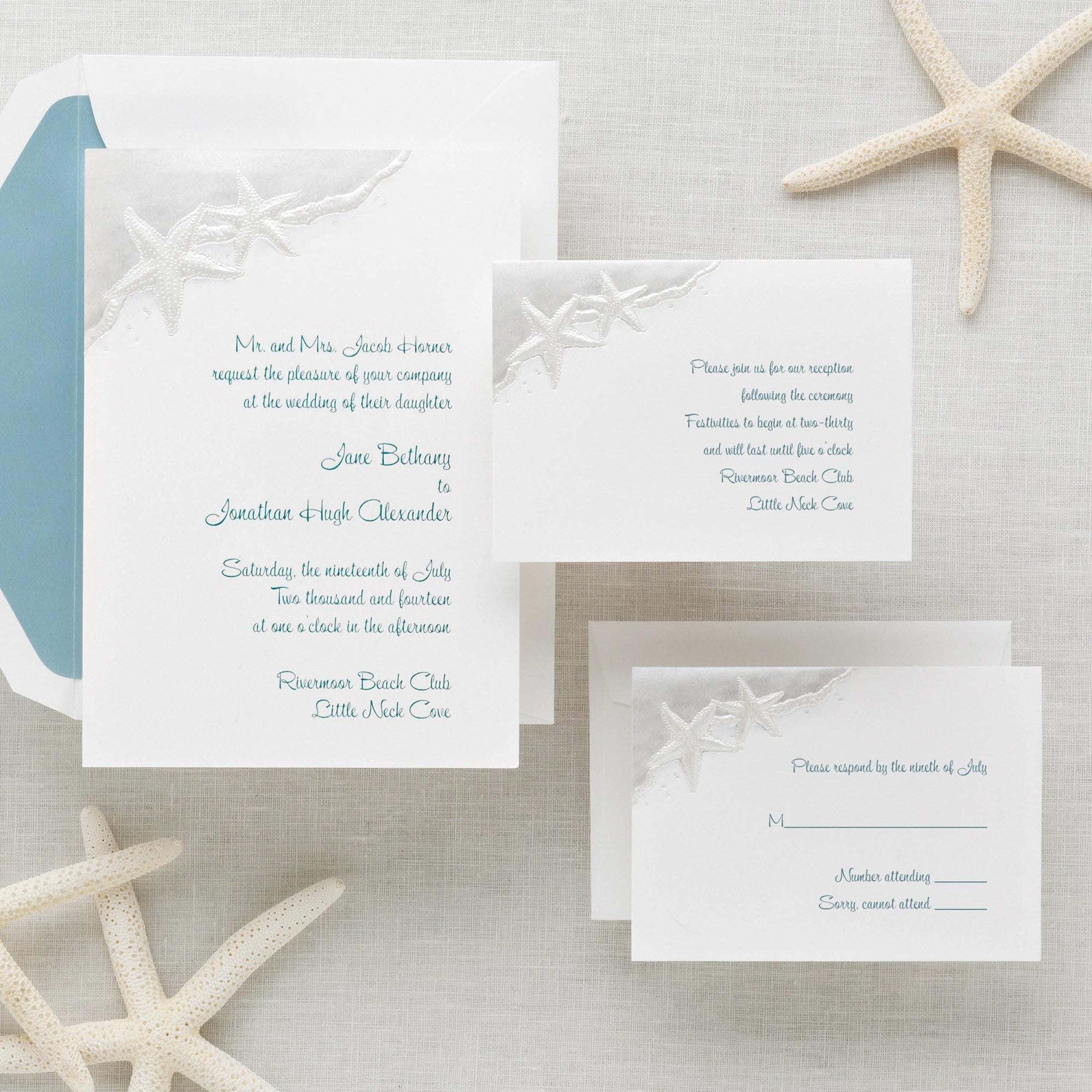 Beach Wedding Invitation viewall true wedding invitations beach theme Starfish