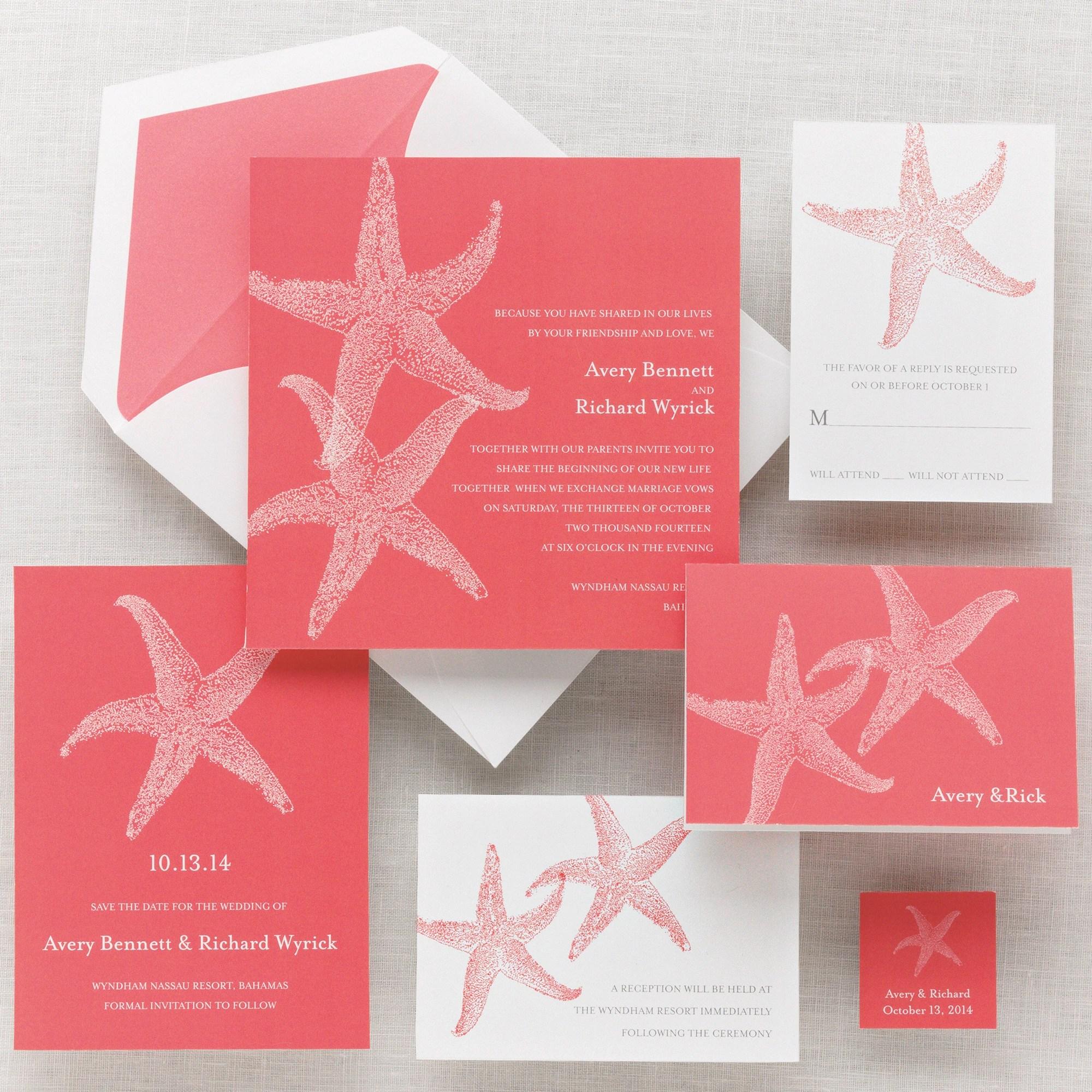 Imperial Starfish Wedding Invitation beach wedding invitations