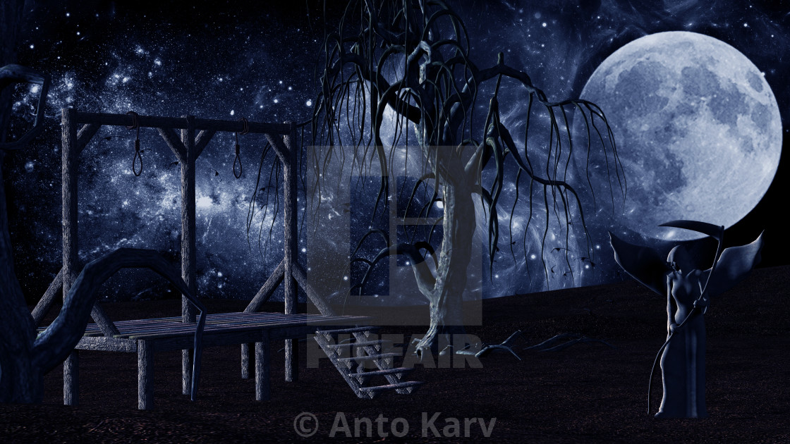 Angel of Death - Spooky Night background with Gallows, Crows and