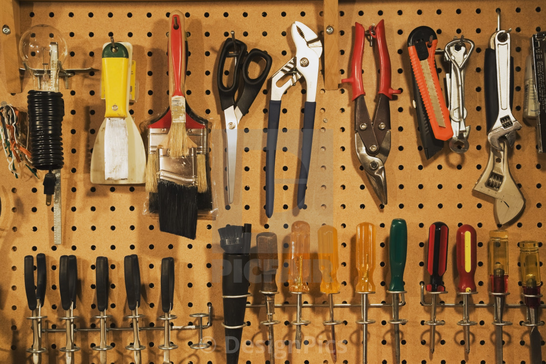 Peg Board Canada Assorted Workshop Tools On A Pegboard Quebec Canada License