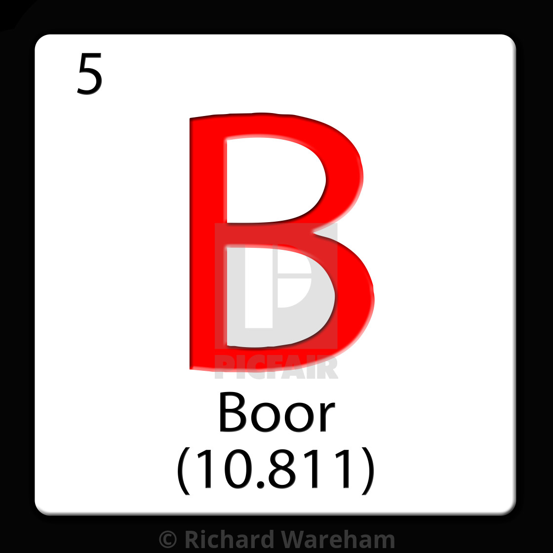 3d Boor Digital Illustration Chemical Periodic Table Style Tile B Boor