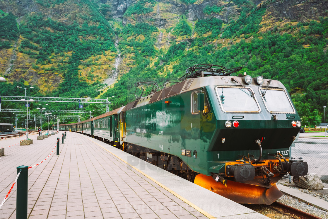 Norway Train Flamsbahn In Flam Norway Norwegian Train On Railway Famous