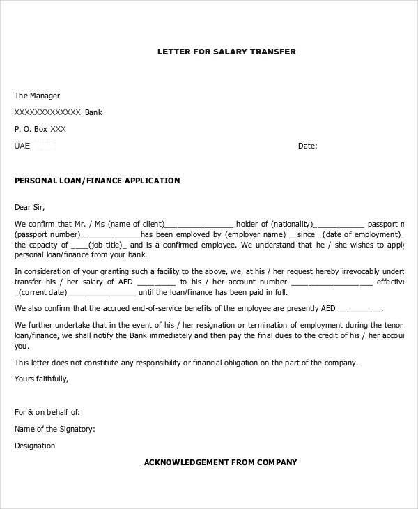 Salary Transfer Letter - MyMoneySouq Financial Blog