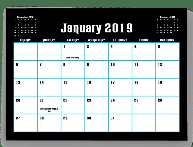 2019 18 calendar template