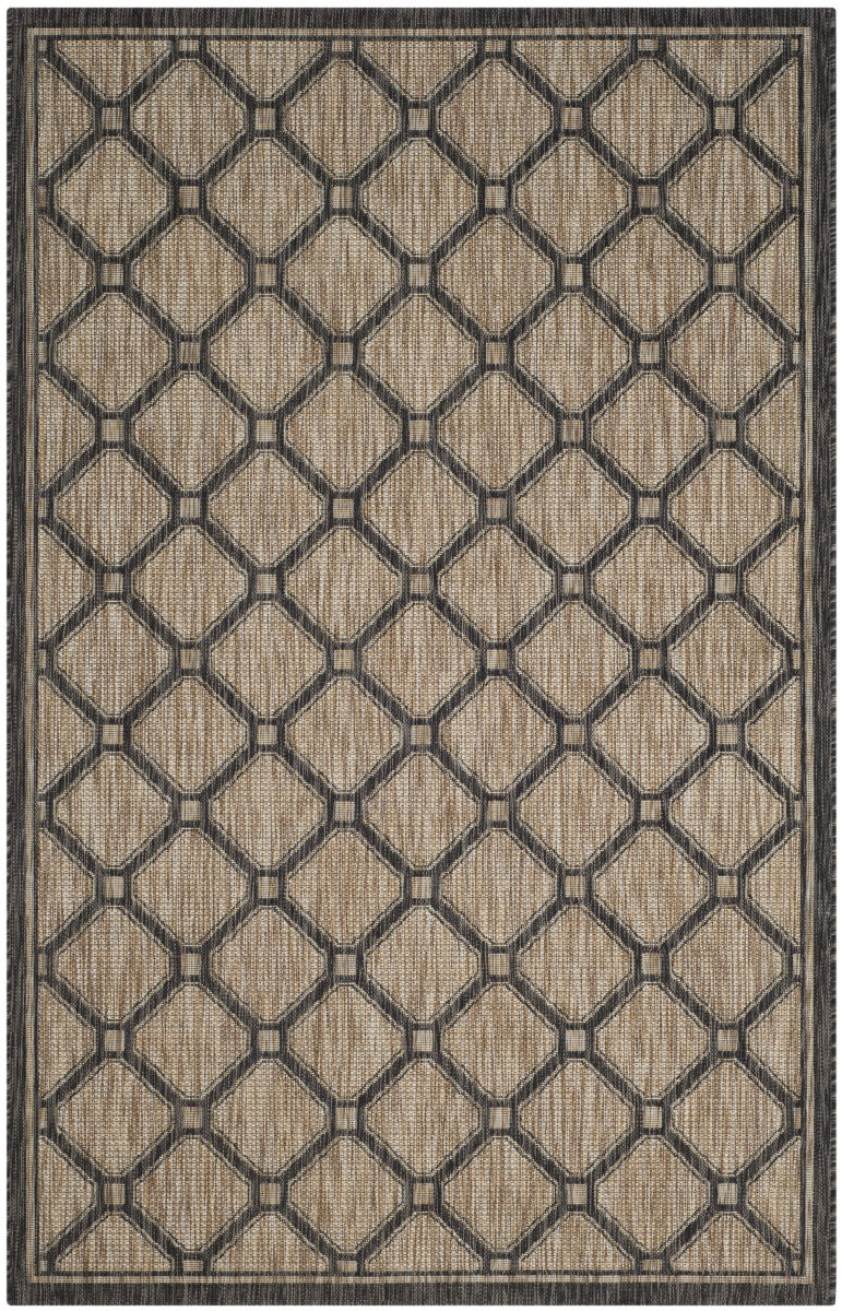 Safavieh Courtyard Safavieh Courtyard Cy8471 Natural Black Area Rug