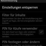 Hier kann man einen PIN für den Kauf von Apps einstellen.