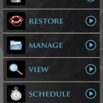 Startbildschirm der App MyBackup Root