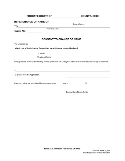 214 \u2013 Consent to Change of Name Seneca County Juvenile Probate Court