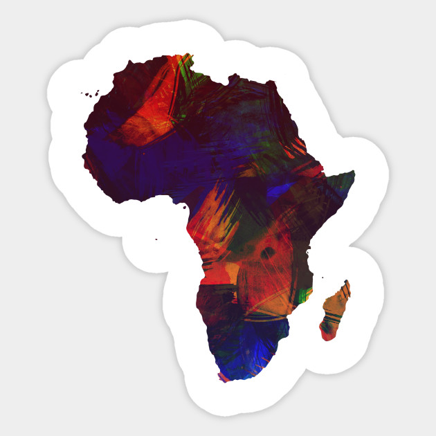 Africa Colorful Africa Continent Art Map - Africa - Sticker TeePublic