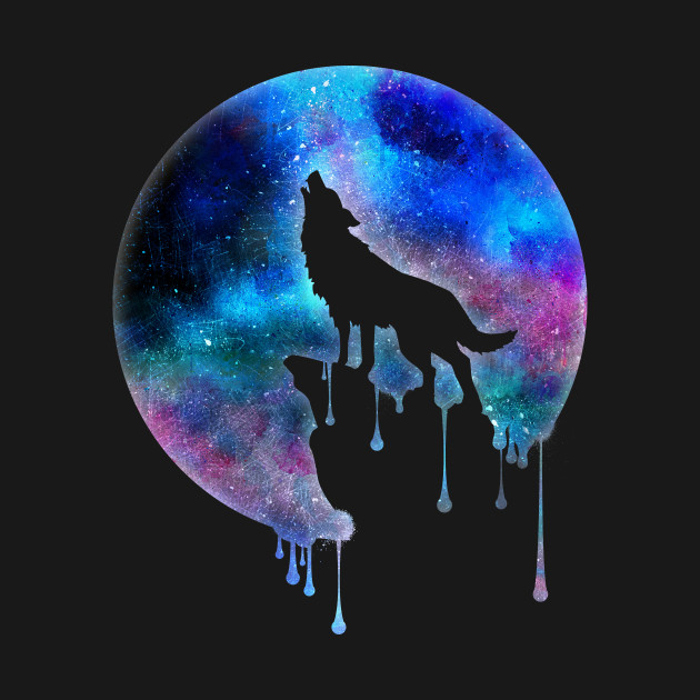 Neon Animal Print Wallpaper Howling Wolf Full Moon Watercolour Art Trend