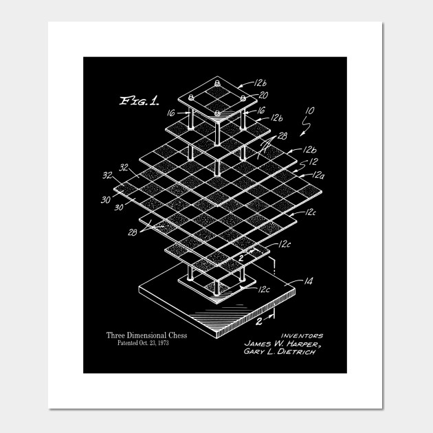 3D Chess Board Patent Print - Chess - Posters and Art Prints TeePublic