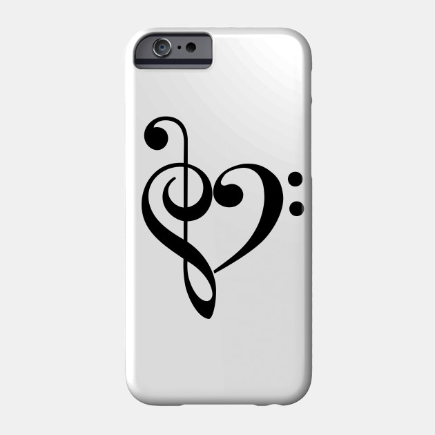 Treble Clef  Bass Clef Heart - Music - Phone Case TeePublic - base cleff