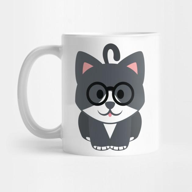Cat Emoji Nerdy Noob Glasses Look - Emoji - Mug TeePublic