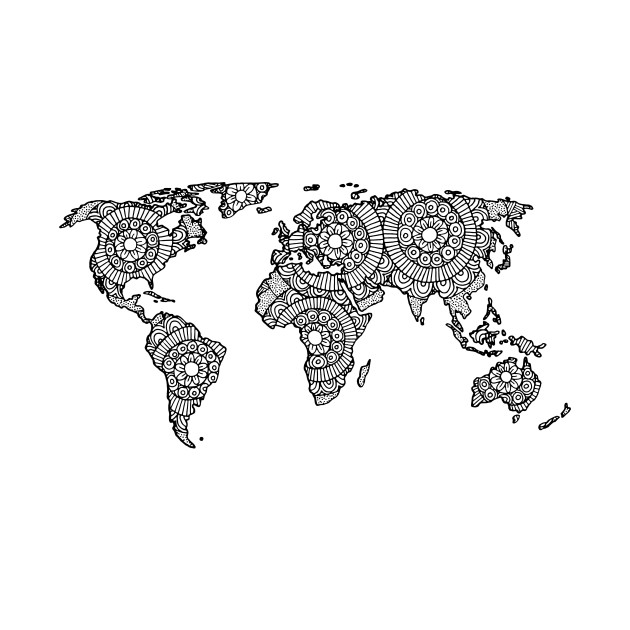Mandala World Map - World Map - T-Shirt TeePublic - Black And Grey World Map
