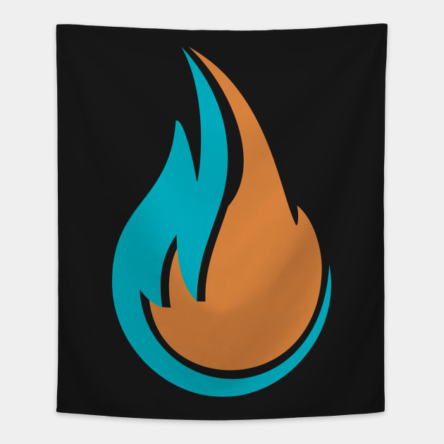 Double Fire Flame Logo - Fire Logo Awesome Gift - Tapestry TeePublic - flame logo