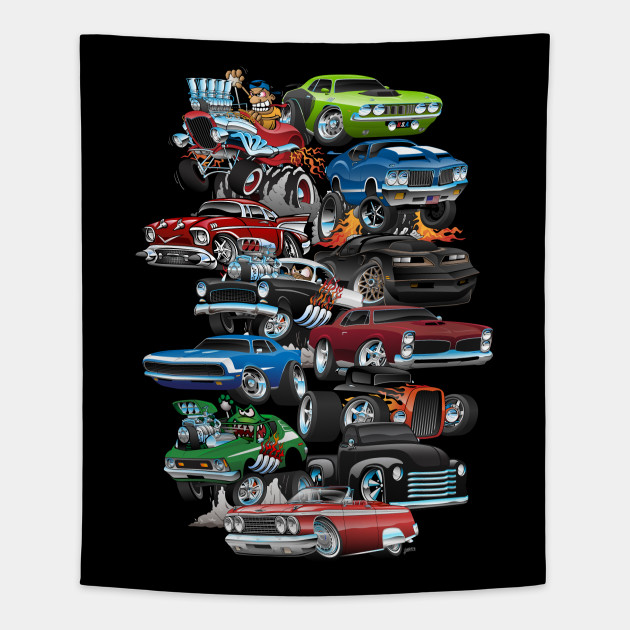 Car Madness! Muscle Cars and Hot Rods Cartoon - Cars - Tapestry